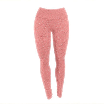 "Michelle Drew ""Wanderlust Pink Skies"" Coral Geometric Yoga Leggings"