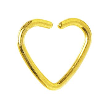 Gold Titanium Hollow Heart Closure Daith CartilageTragus Earring