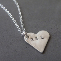 Silver Heart Necklace Heart Charm Hand Stamped Sterling Silver Necklace Initial pendant Personalized Charm Necklace by SteamyLab