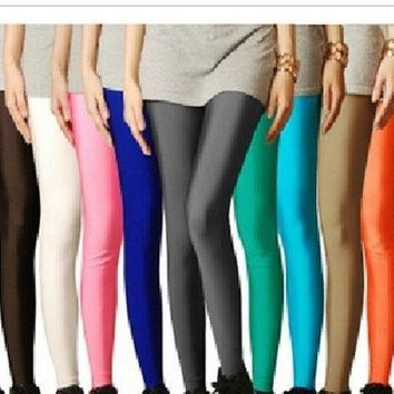 LMFUG3 2014 stocking candy SHINY neon color leggings women's high stretched yoga pants top = 1932483076