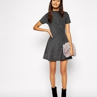 ASOS A-Line Dress in Bonded Silver with High Neck