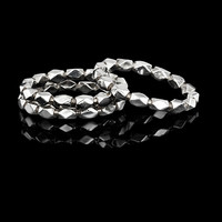 Silver & Gold - Silver Shimmer Stacking Band by Karen Karch