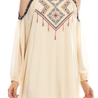 Embroidered Open Shoulder Chiffon Dress