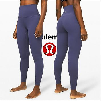 LuluLemon Women Fashion Sport Trouser Yoga Pants Girls Legging high elasticity Purple Grey