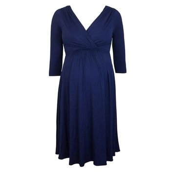 Fashion women Dress 6 size Women Maternity Dress Robe Ruched V-Neck 3/4 Sleeve Nursing Pregnancy Clothes Black Blue Red