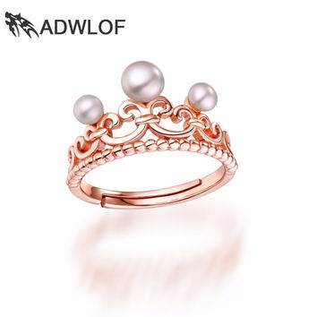 ADWLOF Natural Perfectly Round Freshwater Pearls Adjustable Crown Rings S925 Sterling Silver for Women Engagement Fine Jewelry