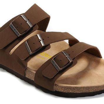 2017 New STYLE Birkenstock Summer Fashion Leather Cork Flats Beach Lovers Slippers Cas