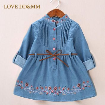 LOVE DD&MM Girls Clothing Dresses 2018 New Arrival Fashion Girls Clothes Fashion Cute Lace Embroidered Floral Belt Denim Dress