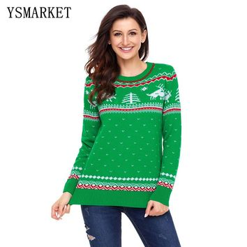 Christmas Pullover Crewneck Ugly Christmas Sweater Women knitted Cute Sweaters Reindeer Snowman Autumn Winter Pullovers E27790