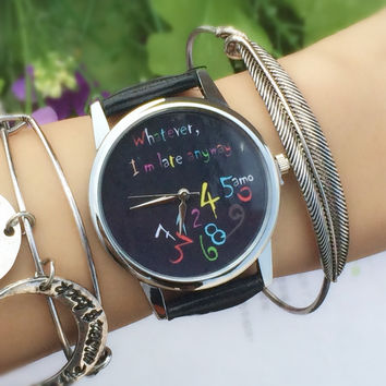 "Colorful "" Whatever, I'm late anyway ""Print Women Men Quartz Leather Watch Sliver Black"
