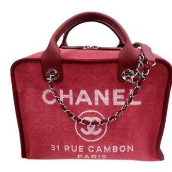 CHANEL Deauville 2 Way Bag Handbag Shoulder Chain Purse Canvas Leather Red Auth