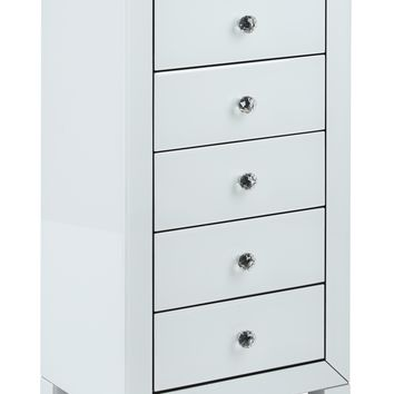 Office Star Reflections 5 Drawer Accent Table with White Glass Finish and Crystal Knobs