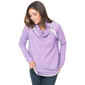 Chicloth Violet Raw Edge Cowl Neck Pullover Sweatshirt