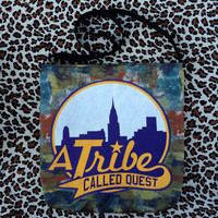 a TRIBE CALLED QUEST - Upcycled Rock T-Shirt Sling Tote - ooak