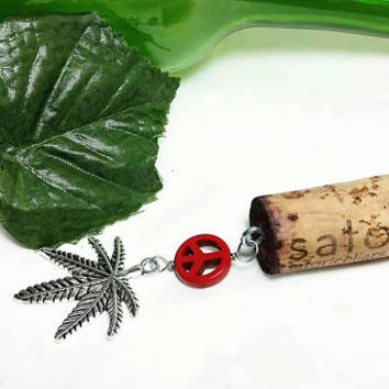 Upcycled Satori Cellars Wine Bottle Cork Keychain/Wine Glass Peace Marijuana Key Chain/Repurposed Vino Winery Cork/Weed Leaf Key Ring/Ganja