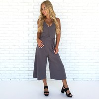 Eye Candy Jersey Jumpsuit In Charcoal Grey
