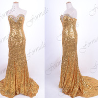 Mermaid Strapless Sequined Long Golden Prom Dresses, Evening Gown, Wedding party Dresses, Formal Gown