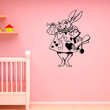 Rabbit Alice In Wonderland Wall Decal Vinyl Sticker- Children Decor Wall Stickers- Wall Decals For Nursery- Wall Decal Kids Bedroom Q047