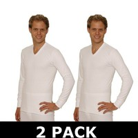 OCTAVE Thermal Fishing Underwear : 2 PACK Mens Thermal V-Neck Long Sleeve Vest