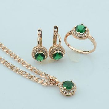 FJ 2 Color Women Red/Green Stone Cubic Zircon Necklace Engagement Jewelry Sets Rose Gold Color Pendant+Earrings+Rings Set