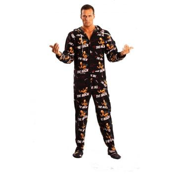 The Rock WWE Adult Footed Pajamas