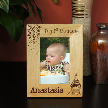 Design 'My First Birthday' Custom Picture Frame Design and Font Selection for Personalization (Select Size and Frame Orientation)