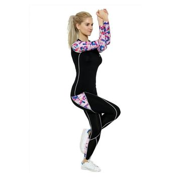 2017 Life on Track Women Sports Yoga Sets Digital Printing Running Sports Shirts + Pant Set Fitness Gym Compression Sets