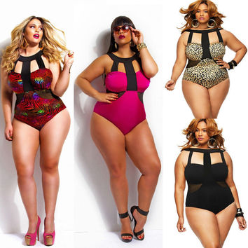 Women's Sexy Padded Monokini Swimsuit-Plus Size L XL XXL XXXL