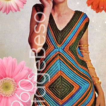 Bodycon Dress CROCHET PATTERN 60s Retro Crochet Pattern Sexy Dress that Slims You Crochet Pattern Summer Ladies Instant Download PDF Pattern