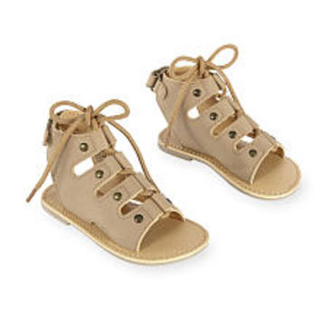 Koala Kids Hard Sole Lace Up Leather Sandals with Open Heel