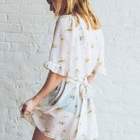 Betsey Johnson Vintage For UO Fiona Floral Chiffon Dress- Ivory
