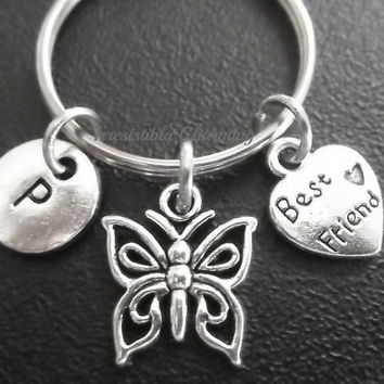 Sale.... Small butterfly, BFF, BESTFRIENDS keyring, keychain, bag charm, purse charm, monogram personalized gifts under 10 item No.682