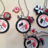 Customized Bottle Cap Color Guard Necklaces with Names