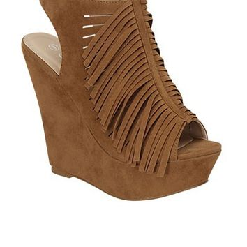 Walk This Way Fringe With Zipper Wedges ~ Tan