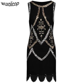 Women Little Black Dress 1920s Flapper Gatsby Charleston Sequin Bead Vintage O-Neck Sleeveless Embroidery Mini Party Dress