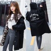 S, M, L, XL Spring autumn windproof loose hooded camouflage inside BF wear both sides long letter stamp print coat female trench