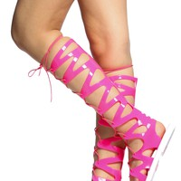 Neon Fuchsia Jelly Lace Up Gladiator Sandals @ Cicihot Sandals Shoes online store sale:Sandals,Thong Sandals,Women's Sandals,Dress Sandals,Summer Shoes,Spring Shoes,Wooden Sandal,Ladies Sandals,Girls Sandals,Evening Dress Shoes