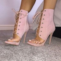 Woman Pink Suede Lace-up Sandals Peep Toe PVC Straps High Heel Ankle Boots Side Zipper Gladiator Sandals Boots Big Size 11