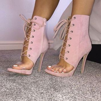 Pink Suede Gladiator Sandal Style Lace Up Ankle Boots