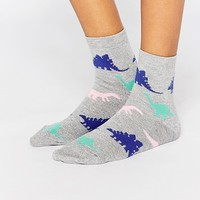 ASOS Glittery Dinosaur Ankle Socks at asos.com