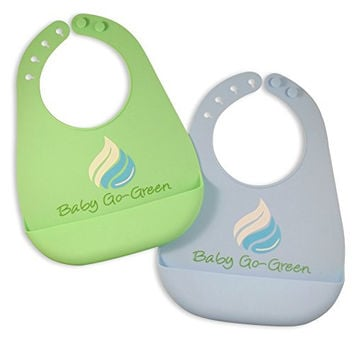 Premium Silicone Bib (2 Pack) - Soft & Comfortable High Quality Design for Babies and Toddlers - Deep Pocket Food and Crumb Catcher - BPA Free and FDA Approved Bibs