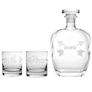 Rolf Glass His & Hers Bridal Glassware Decanter Set