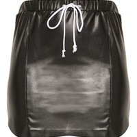 Black Faux Leather Drawstring Waist Mini Skirt