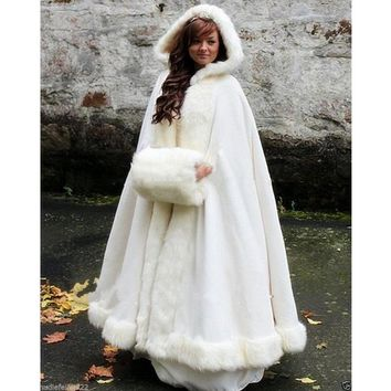 Bridal Winter Wedding Dress Hooded Cloak Cape Faux Fur - Free Shipping