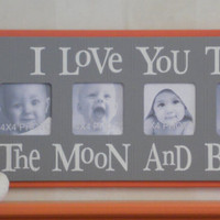 GRAY and ORANGE Nursery Wall Decor / Room Decor - I Love you to the Moon and Back - Grey Nursery Art Baby Sign 4x4 Picture Frame