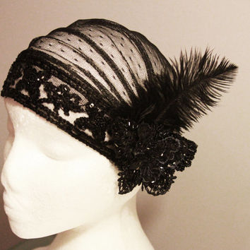 20s Inspired Black Butterfly Feather Cap Swiss Dots Lace Netting Polka Dot Tulle - Bridal Beaded The Great Gatsby Hat