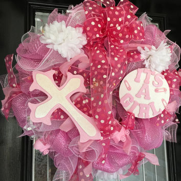 It's a Girl Welcoming Wreath, Baby Wreath, Baby Shower Decoration, Baby Welcoming Wreath