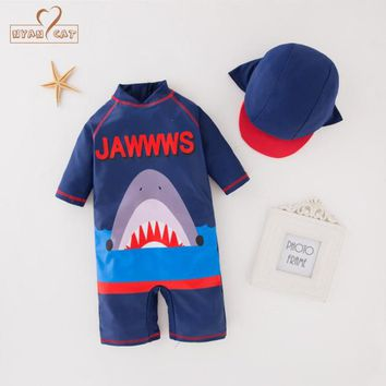 Nyan Cat summer baby boy blue shark swimwear+hat 2pcs set swimming suit infant toddler kids children swimwear clothing costume