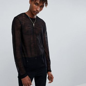 ASOS Sheer Jumper In Black at asos.com