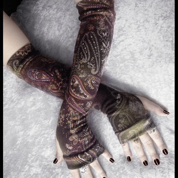 Arabian Arcana Arm Warmers - Soft Sweater Knit - Olive Green Cream Gold Plum Purple Silver Mehndi Paisley Floral - Bohemian Yoga Gothic Goth